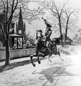 Поль Ревир скачет в Лексингтон и Конкорд (картина художника ХХ века).