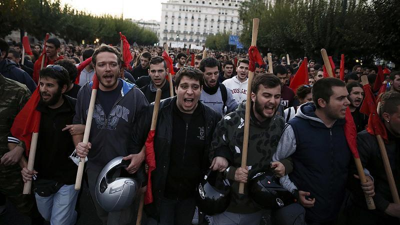Манифестация студентов Афинского политехнического университета