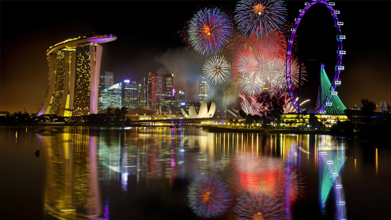 Салют на День независимости Сингапура