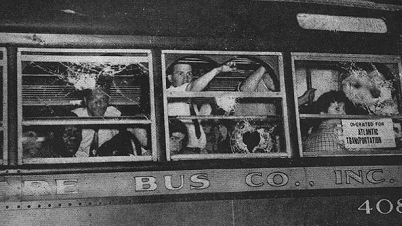 It was on such buses as this that the worst injuries occurred. In the crowded bus there was no room to hide. The story of Sidney Marcus in the Appendix tells what it was like to be inside these buses as they ran the gauntlets.