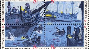 «Бостонское чаепитие». Блок марок, выпущенный в США к 200-летию события в 1973 году.
