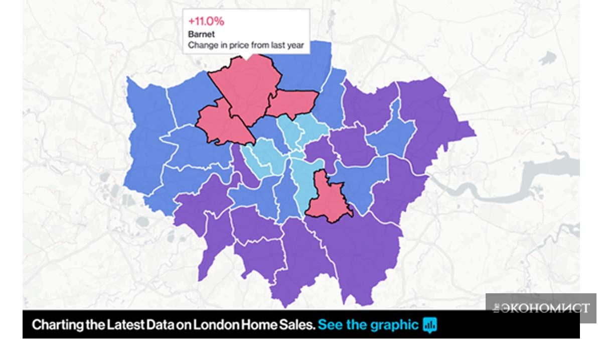Изменение цен недвижимости в районах Лондона