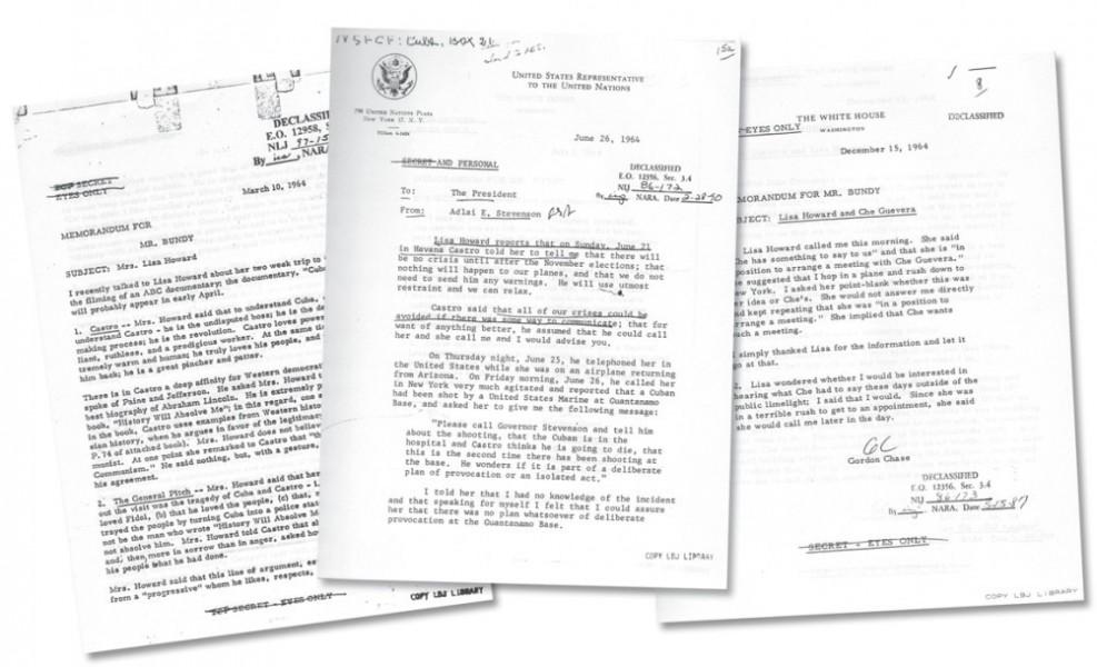 L to R: записка от Чейза к Банди после второй поездки Ховард на Кубу. Записка Стивенсона Джонсону после третьей поездки Ховард. Записка Чейза о визите Че Гевары в Нью-Йорк. / Архив Национальной Безопасности Коллекция Лизы Ховард