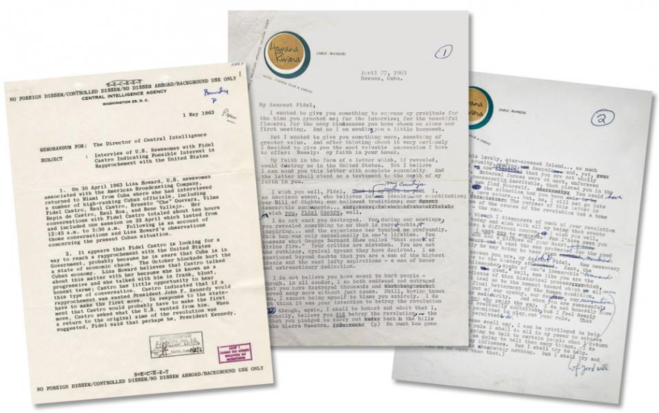 """Записка ЦРУ о первой поездке Ховард на Кубу с пометкой """"Psaw"""" (президент просмотрел). Проект письма от Ховард к Кастро от 27 апреля 1963 года. /Файлы национальной безопасности, Президентская Библиотека им. Джона Кеннеди"""
