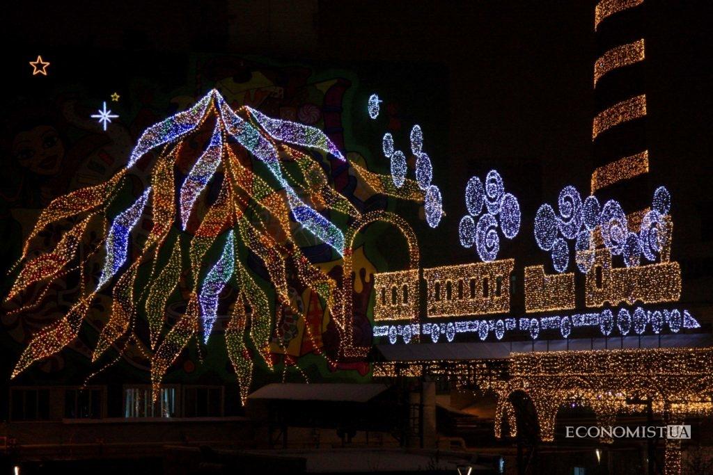 Новогодняя иллюминация на Киевской кондитерской фабрике